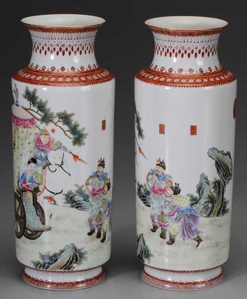 12: Pair Rouleau Porcelain Vases