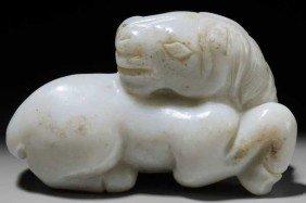 Opaque White Jade Horse