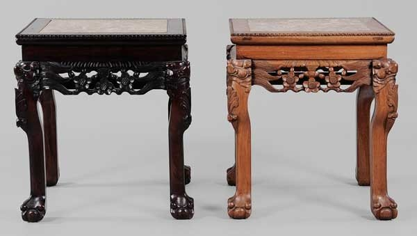 104: Two Similar Carved Marble-Top