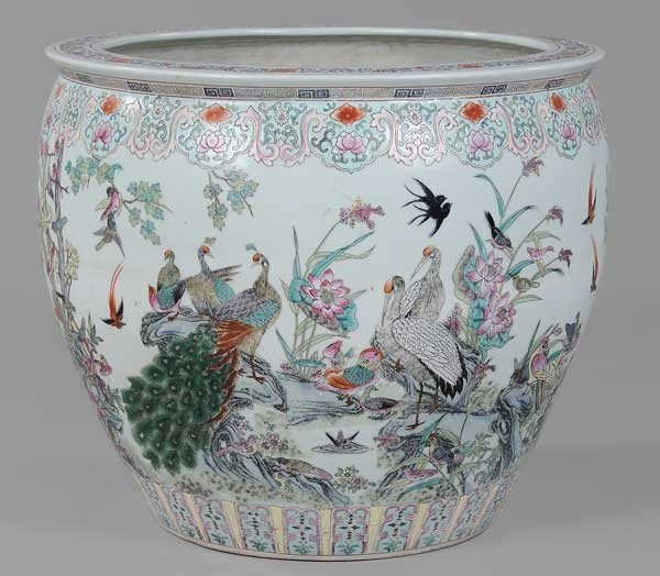 108: Large Decorated Porcelain Fish Bowl