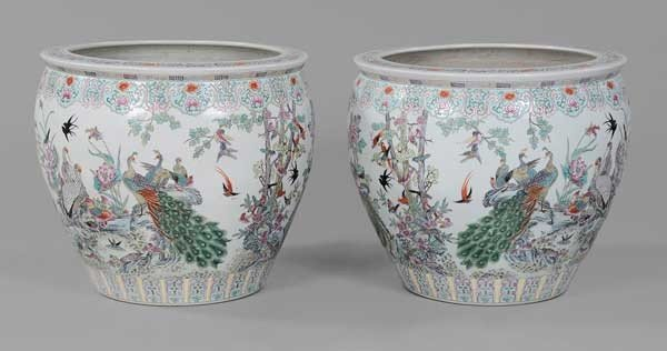 109: Pair Large Decorated Porcelain Fish
