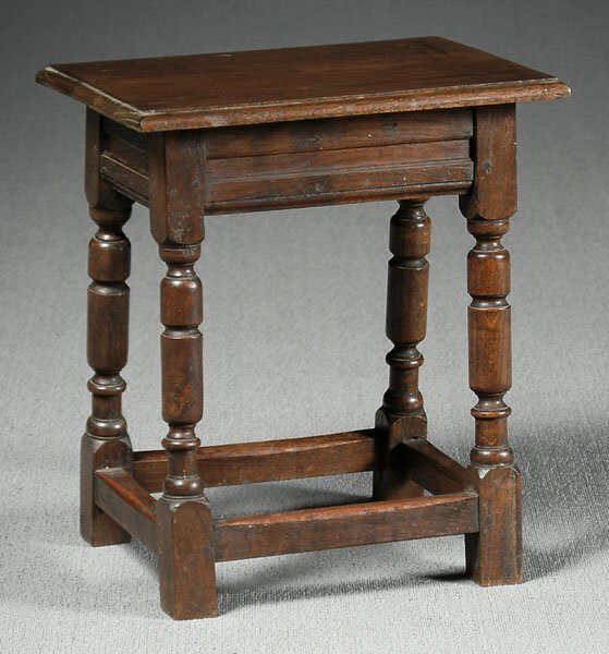 11: 18th century style oak joined stool,