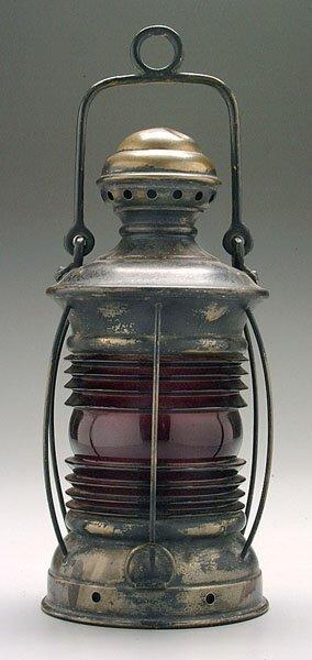 12: Red-globe brass lantern,