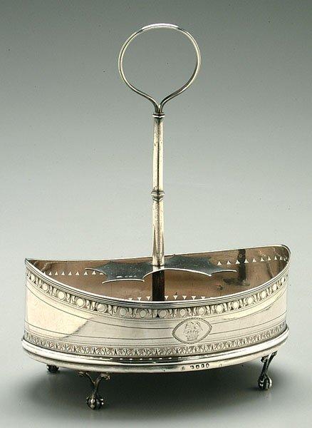 16: English silver cruet stand,
