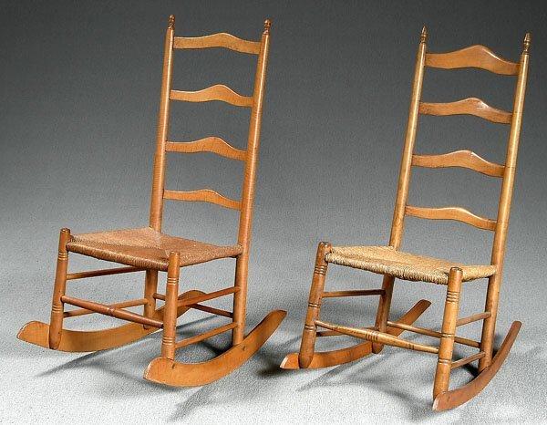 20: Two similar ladder back maple rockers,
