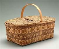 248: Lidded oak split picnic basket,