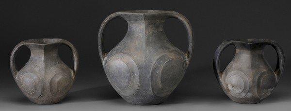 714: Three Two-Handled Black Pottery Jugs