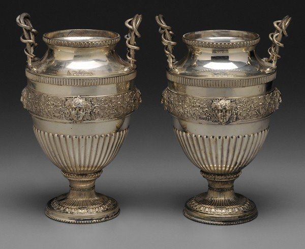 948: Pair Silver-Plated Urns