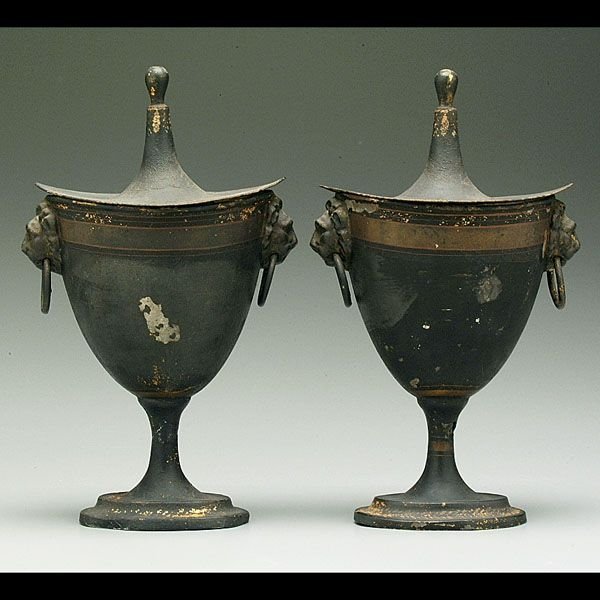515: Pair tole-painted chestnut urns,