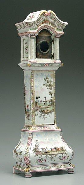 501: Faience miniature tall-case clock,