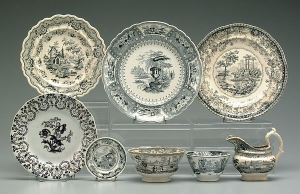 502: Eight pieces black transfer ware: