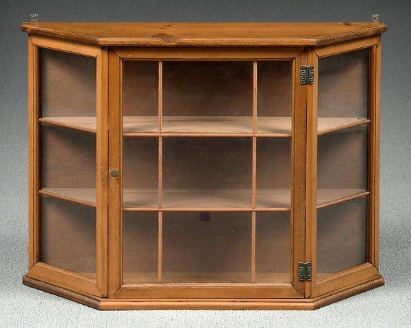 504: Pine wall-hung curio cabinet,