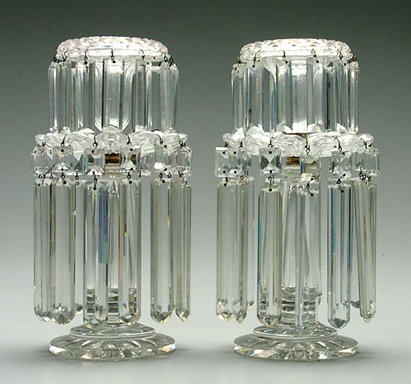 510: Pair clear glass lusters,