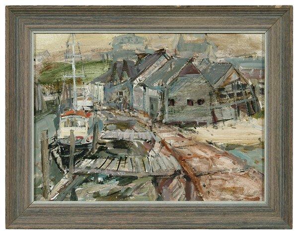 520: Oil on paperboard dock scene,