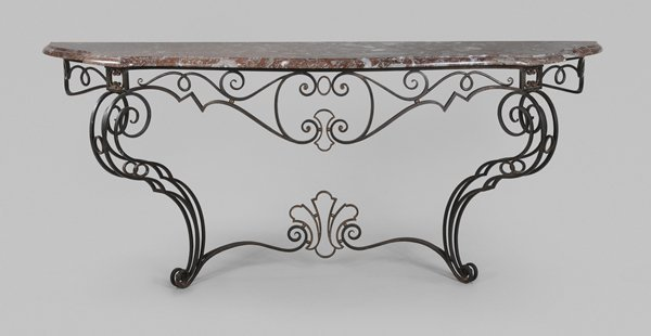 0312: Wrought Iron and Bronze Marble-Top