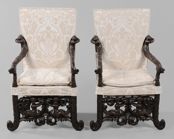 0318: Pair Venetian Baroque Style Carved