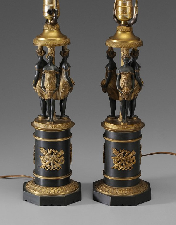 0321: Pair French Empire Style Gilt Bronze