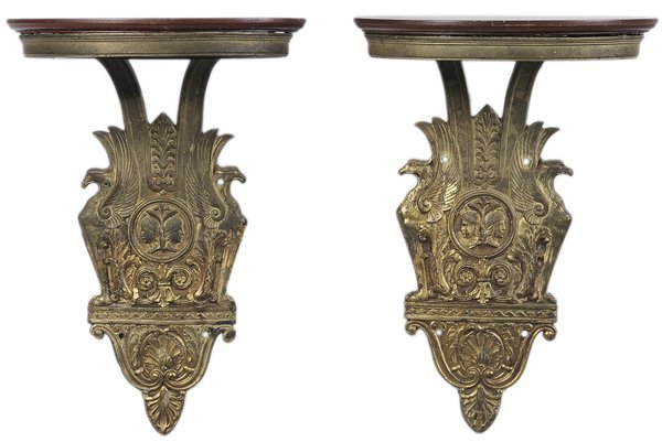 0322: Pair Empire Style Gilt Bronze Brackets