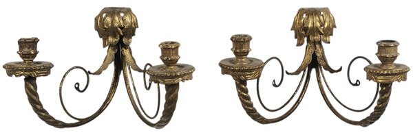 0328: Pair Gilt Metal Venetian Style Sconces