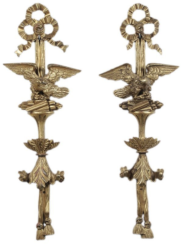0331: Pair Carved and Gilt Eagle Appliués