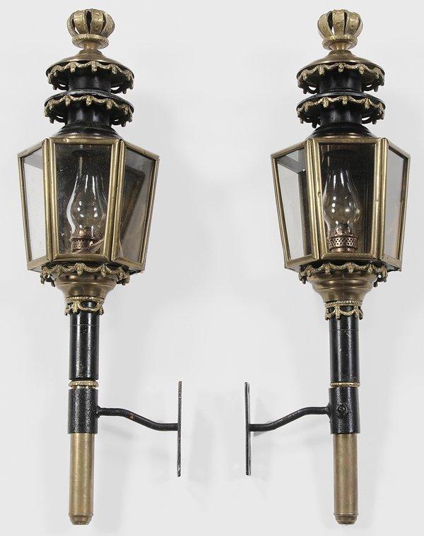 0332: Pair Brass and Iron Coach Lanterns