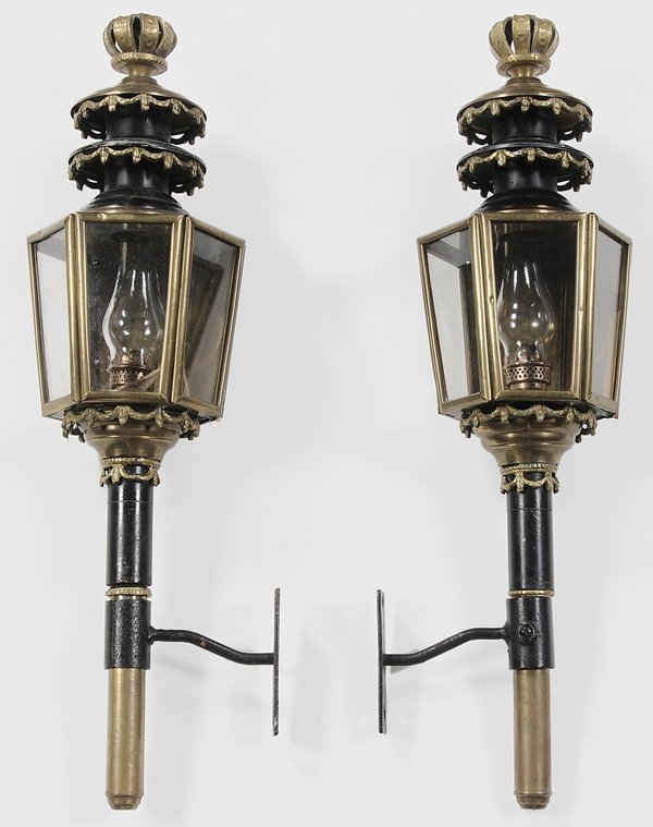 0332: Pair Brass and Iron Coach Lanterns
