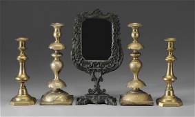 0504: Two Pairs Brass Candlesticks, Dressing
