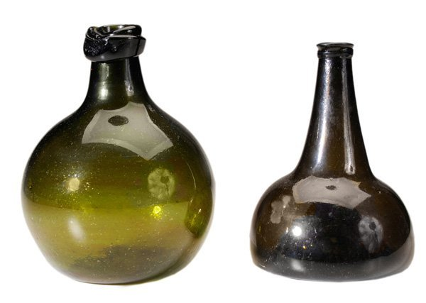 Early Green Glass Bulbous-Form Bottles