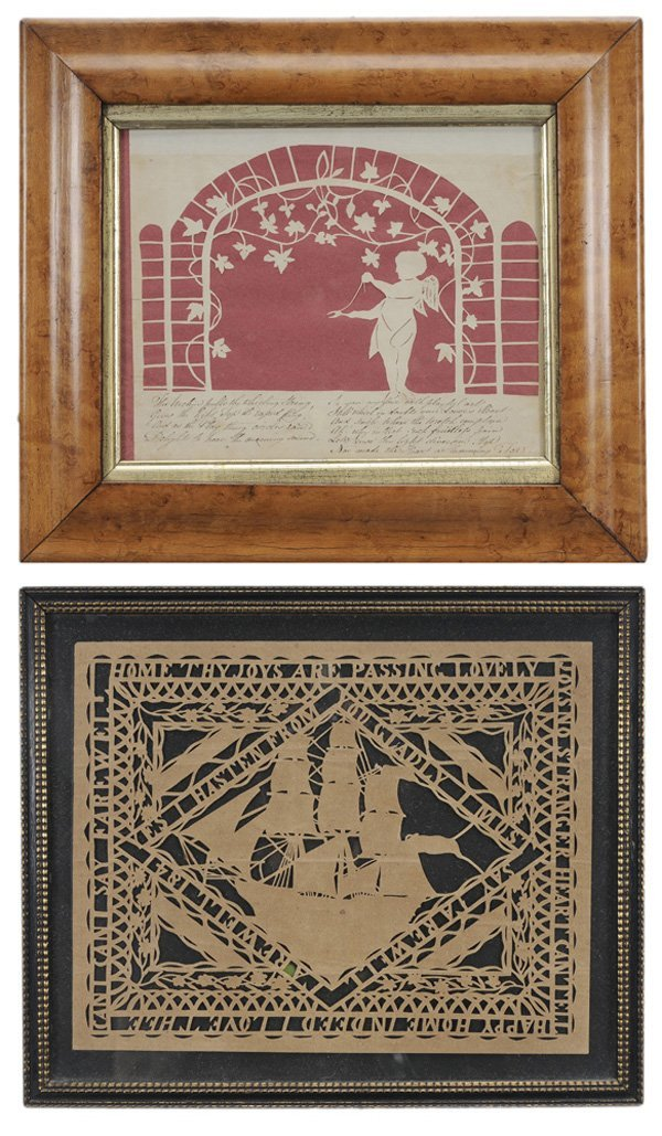 Two Folk Art Cutwork Pictures