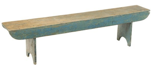 American Blue-Painted Bucket Bench