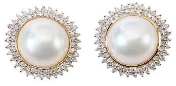 Mab Pearl Diamond Pierced Earrings