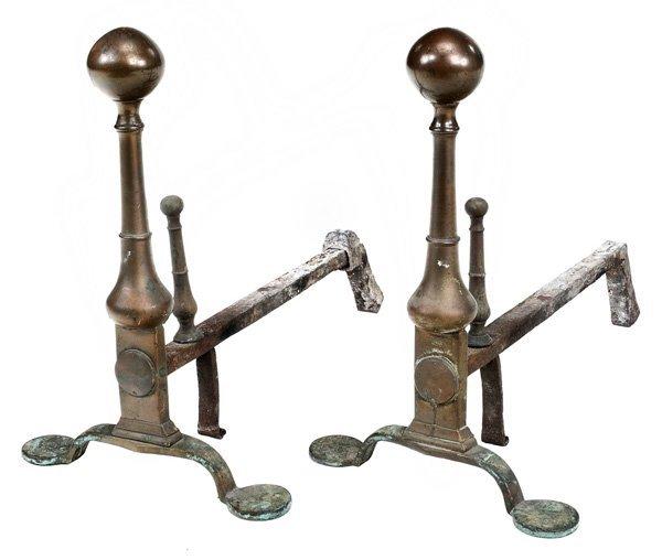0905: Pair Bell Metal Penny-Foot Andirons