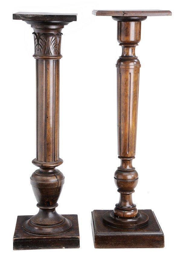 0908: Two Similar Fruitwood Pedestals