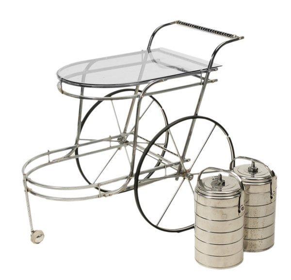 0915: Chrome and Glass Tea Cart