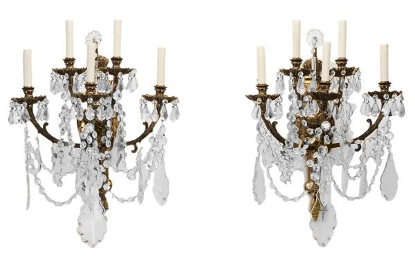 0917: Pair of Crystal and Brass Sconces