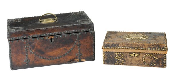 0924: Two Early Leather-Covered Boxes With