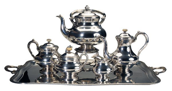 Six-Piece Cased Russian Silver Tea