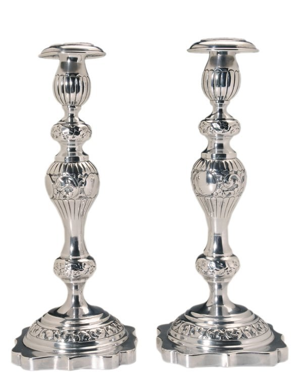 Pair Russian Silver Candlesticks