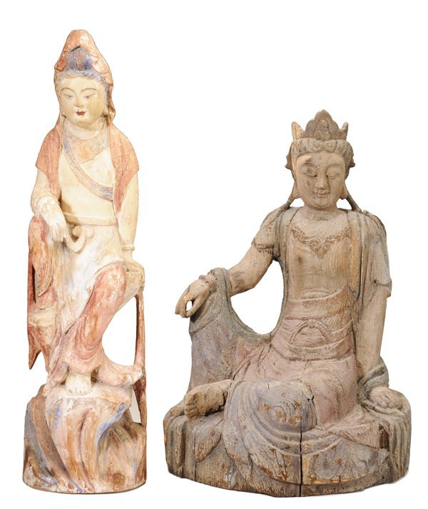 Two Carved Wooden Figures of Seated