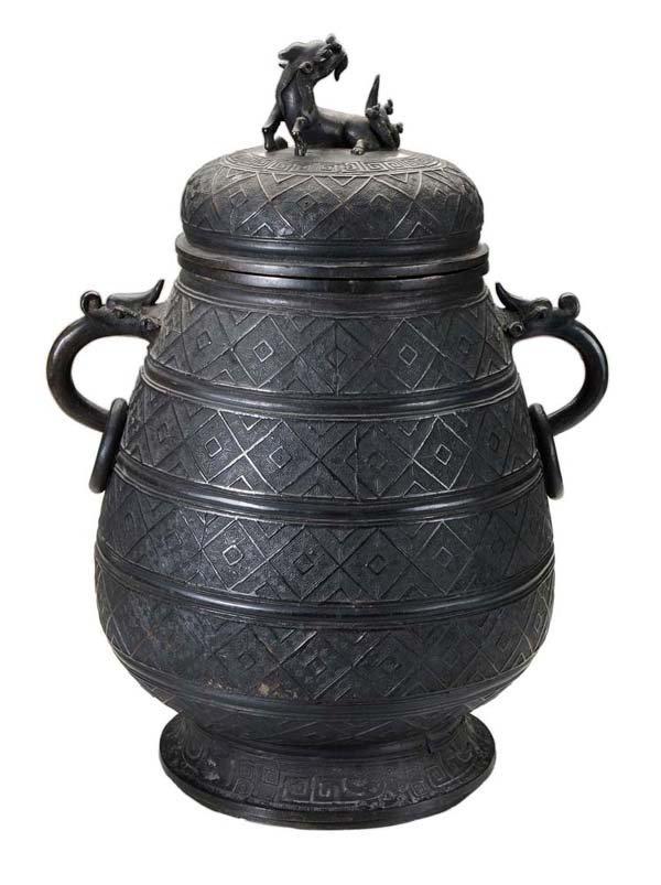 Large Ming Style Bronze Lidded Censer