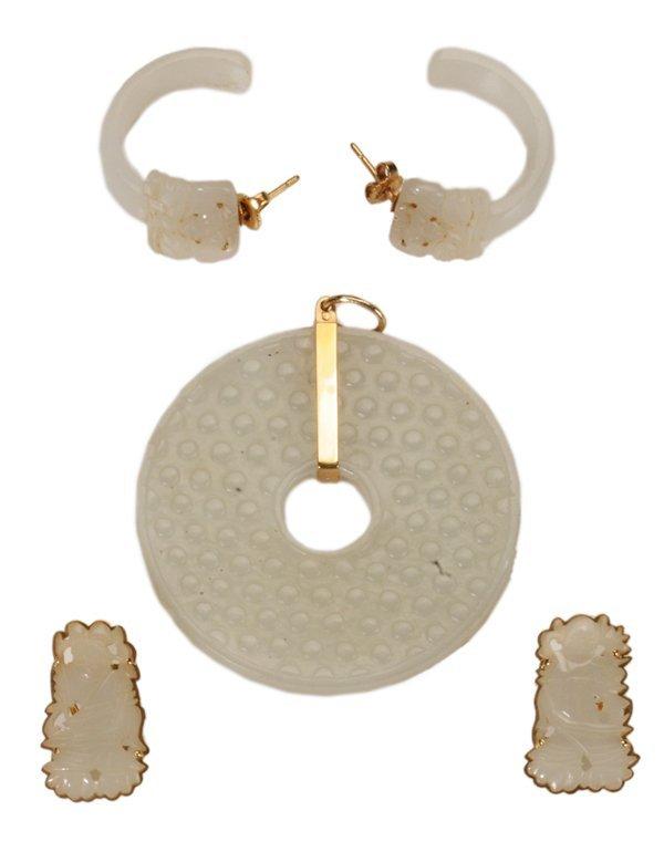 White Jade Pendant and Earrings,