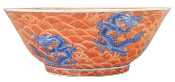 Red-Ground Deep Circular Dragon Bowl