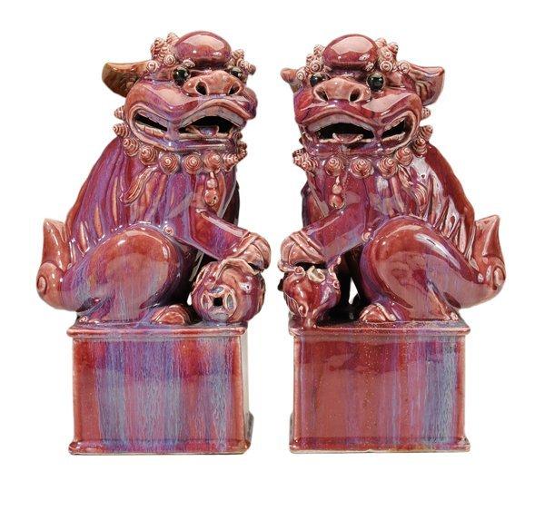 Pair Purple-Glazed Seated Foo Dogs