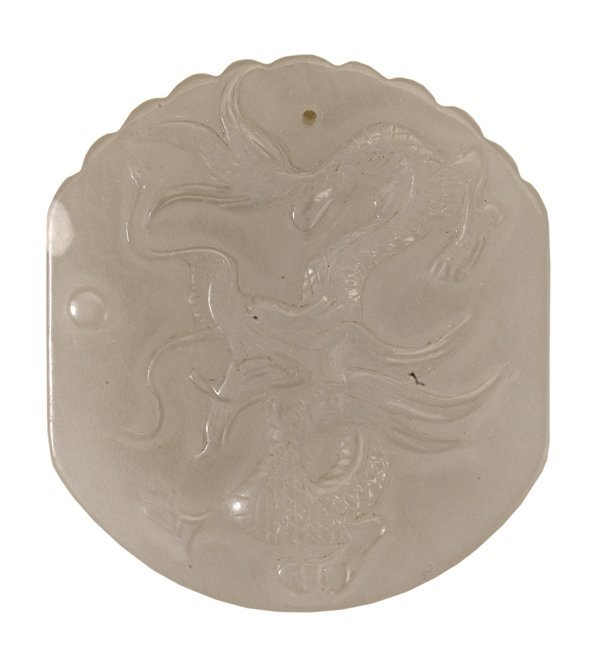 Carved White Jade Pendant