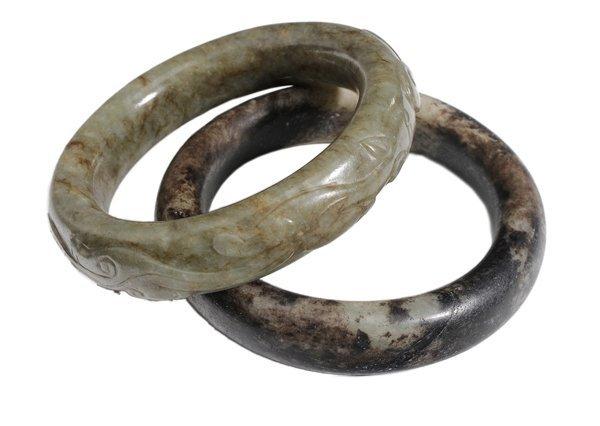 Two Carved Hardstone Bangle Bracelets