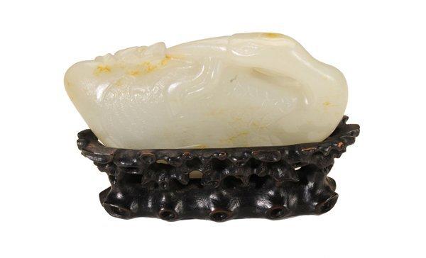 Carved Celadon Jade Pebble of Loon