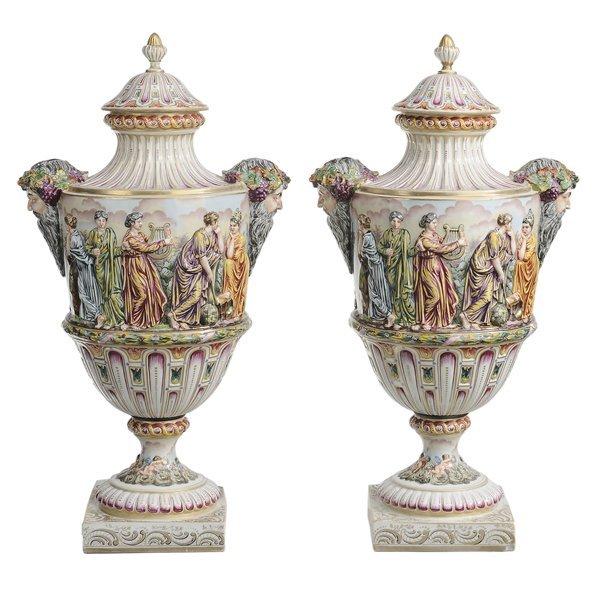 1: Pair Capodimonte Porcelain Lidded Urns