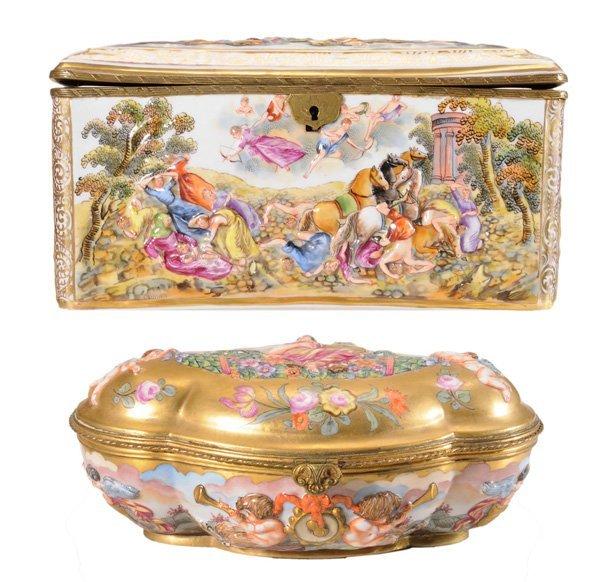 2: Two Capodimonte Porcelain Boxes