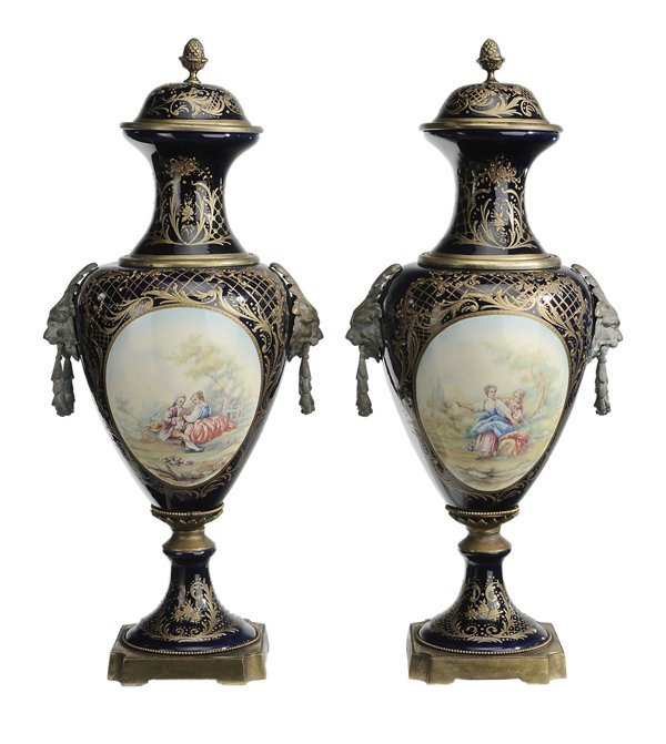 5: Large Pair Sévres Style Blue and White