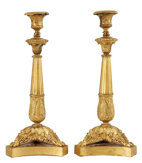 8: Pair Empire Style Gilt Bronze